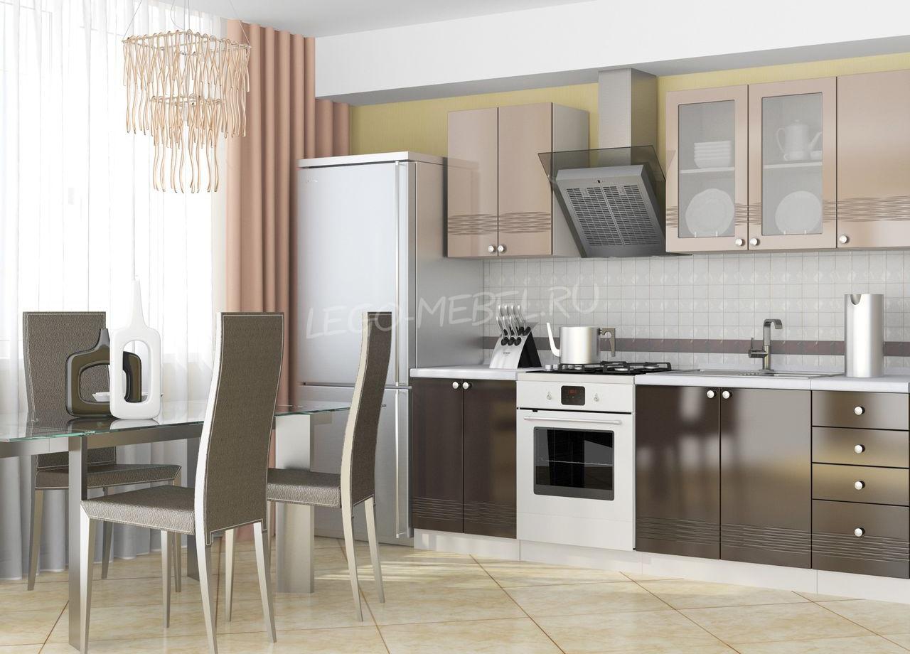 Дизайн кухни в цвете мокко