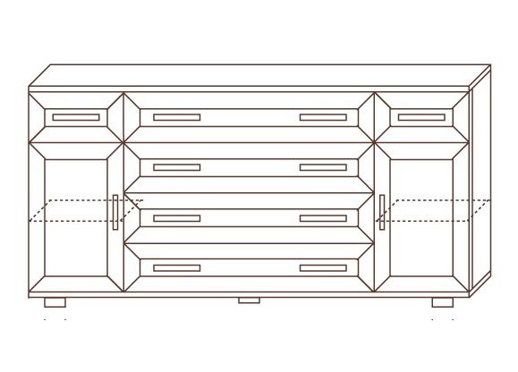 Комод №168 с 6 ящиками + 2 двери