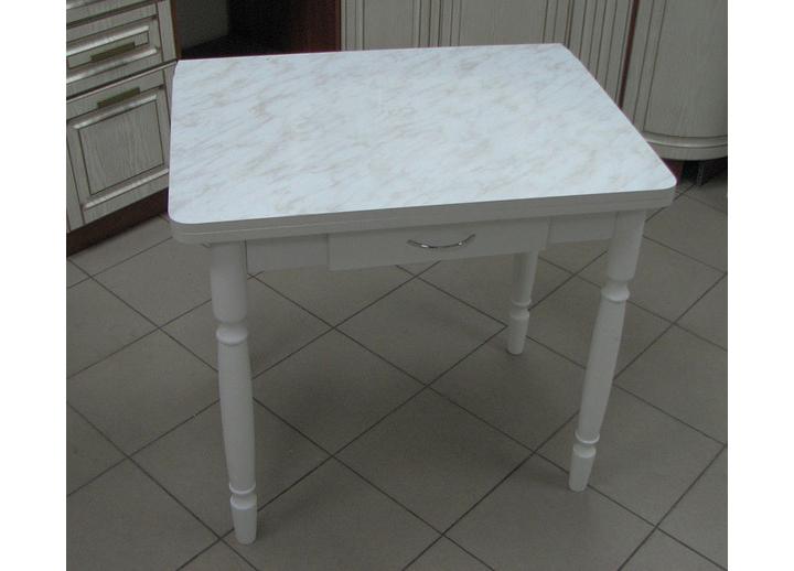 Стол ломберный с ящ. 3014 (мрамор) белый ноги белые