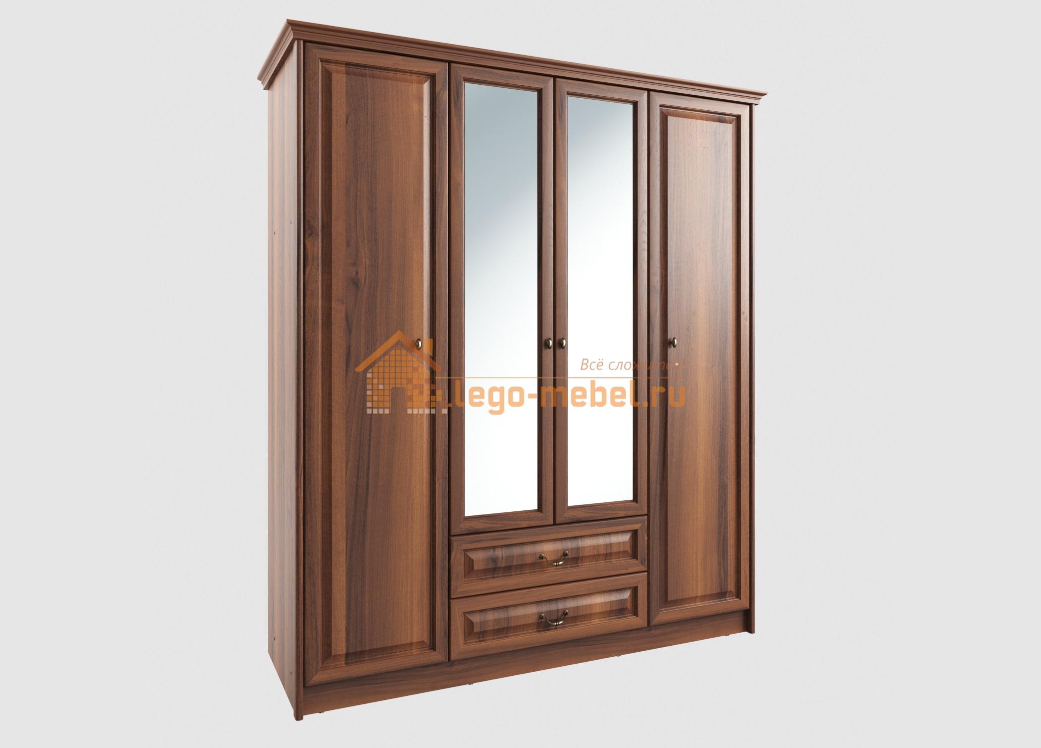 Янна ЯН-06 Шкаф 4-х дверный с зеркалом