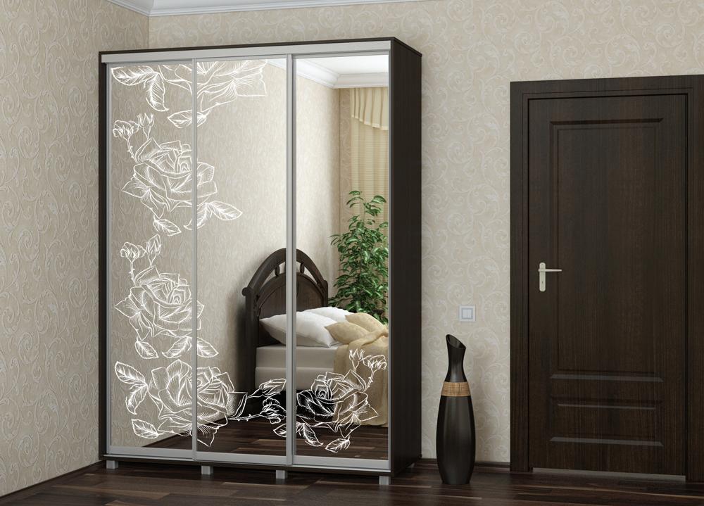 Шкаф купе Топ-Лайн 2076 / 450 / 3 секции / пескотсруйный рисунок розы