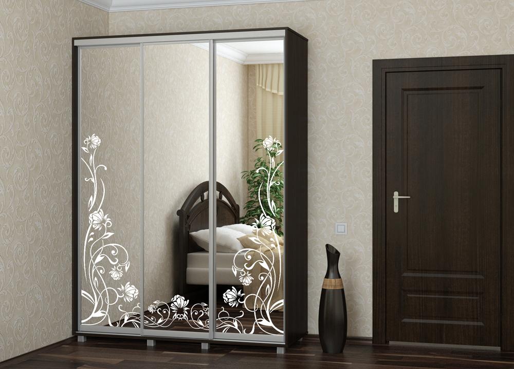 Шкаф купе Топ-Лайн 2076 / 450 / 3 секции /пескоструйный рисунок цветы