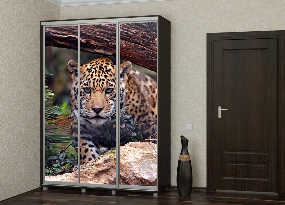 Шкаф купе Топ-Лайн 1776 / 450 / 3 секции / фотопечать леопард