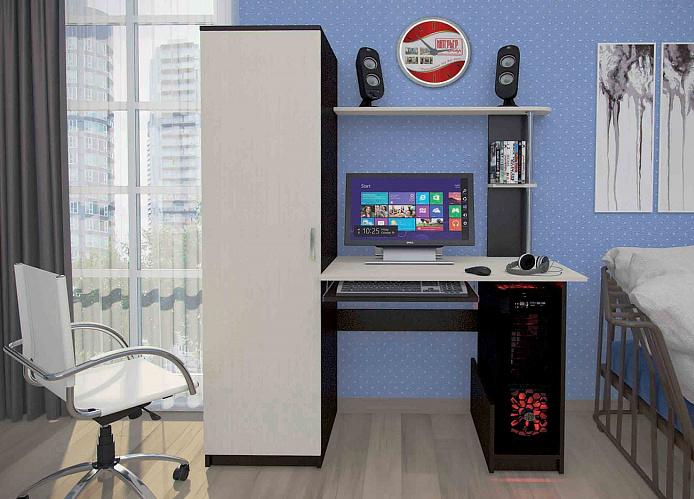 Стол компьютерный КС-001 фасады дуб белёный