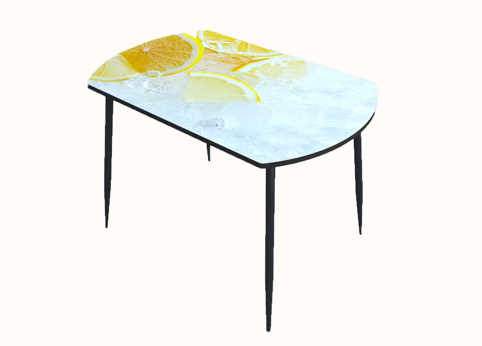 Стол стекло фотопечать Лёд лимон 017