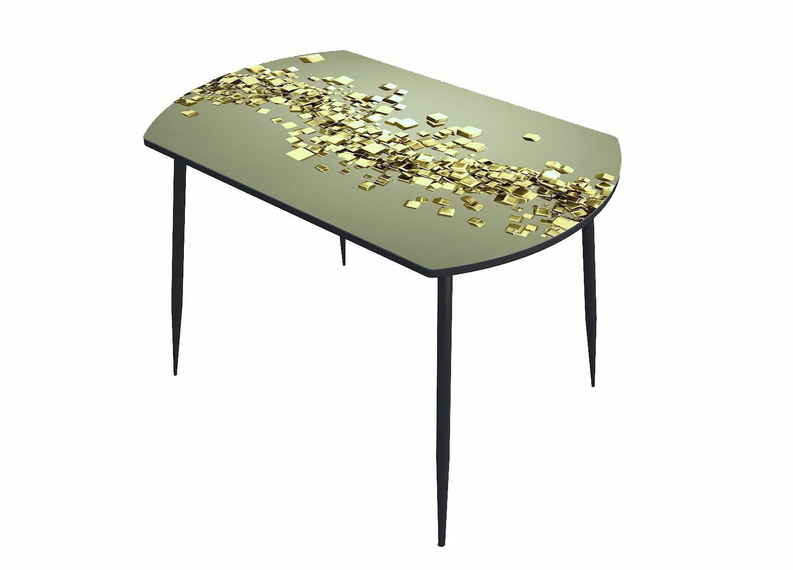 Стол стекло фотопечать Кубики золото 049