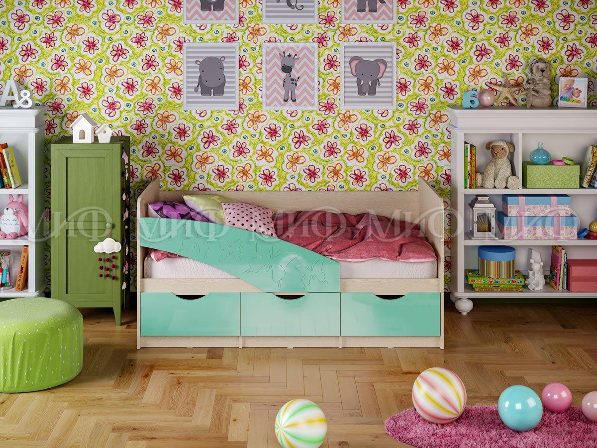 Кровать Бабочки 2,0*0,8 металлик