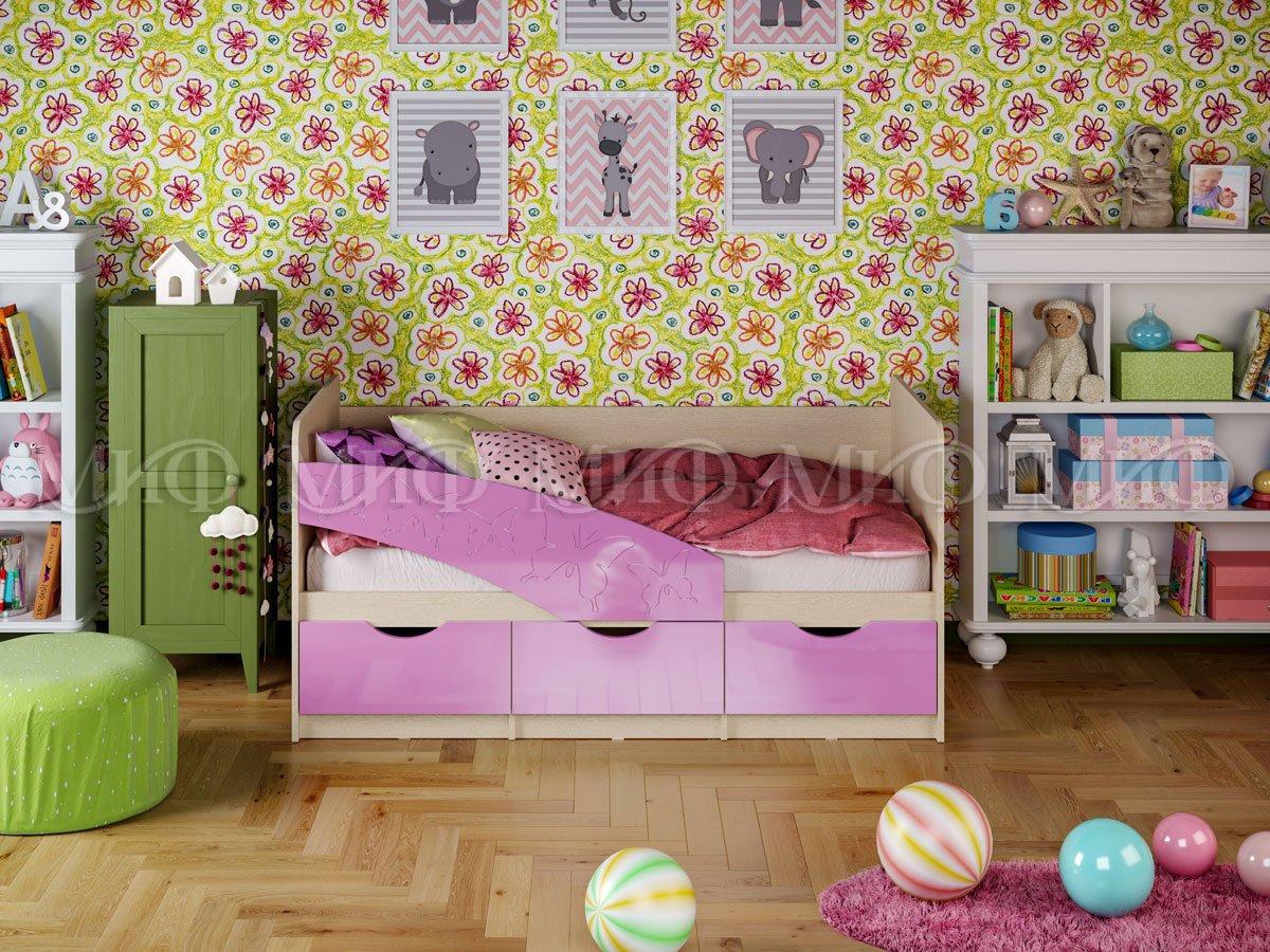 Кровать Бабочки 1,6*0,8 металлик