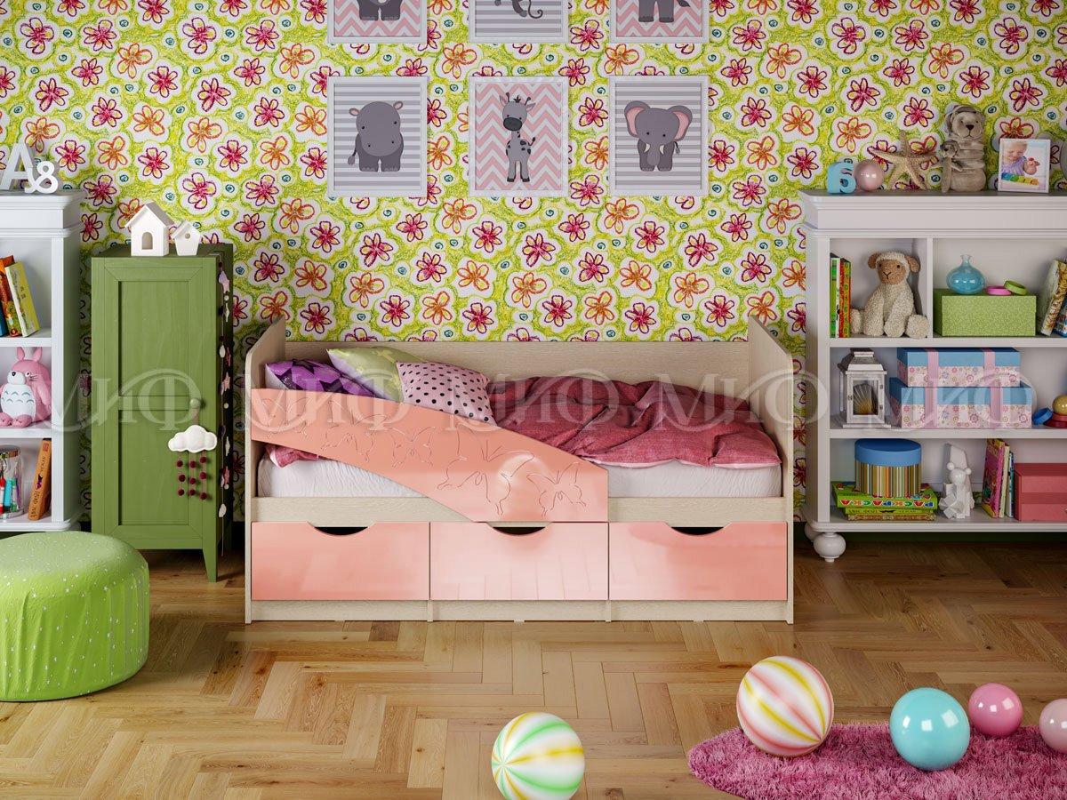 Кровать Бабочки 1,8*0,8  металлик
