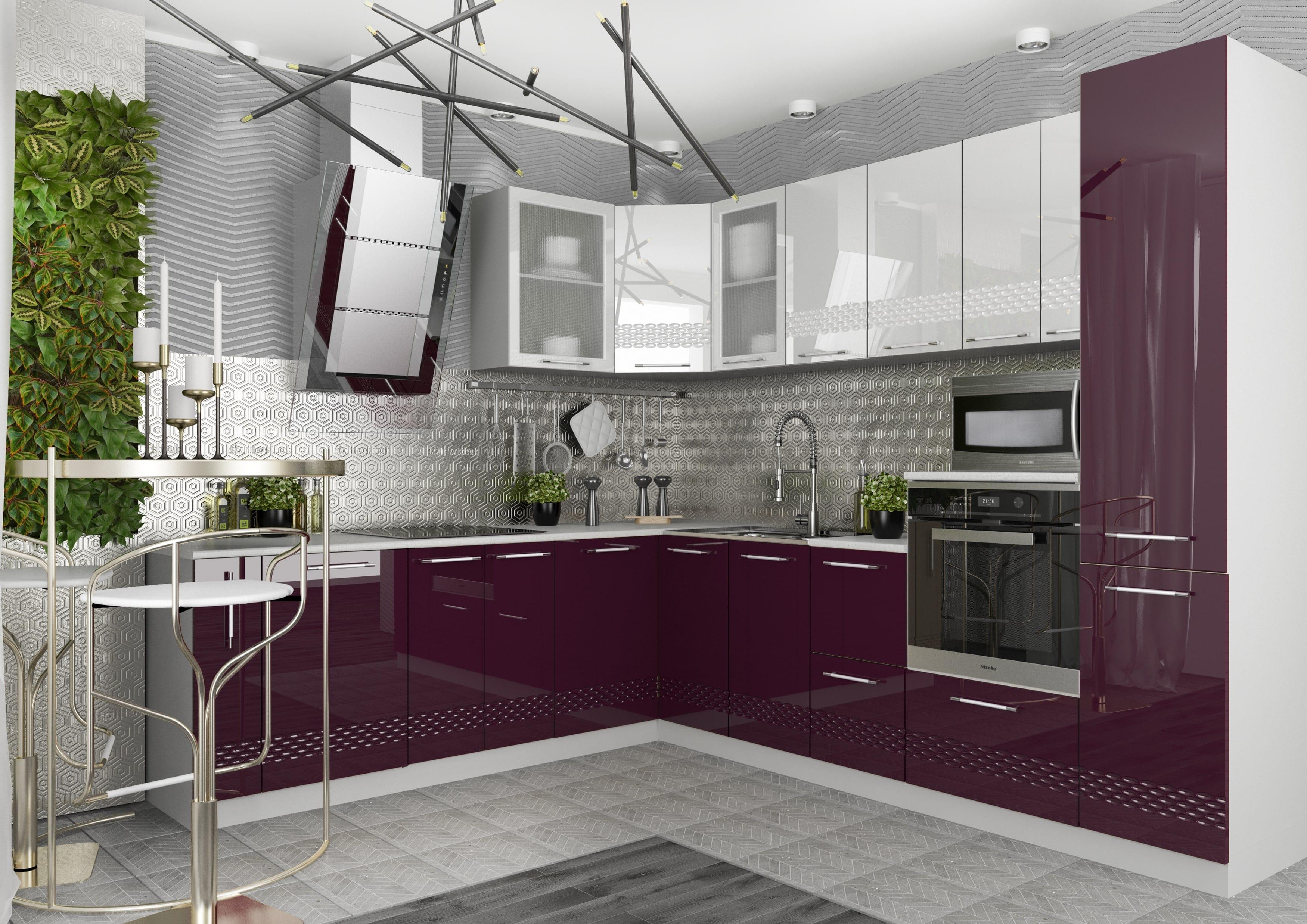 Кухня Капля 3D ПУ 600*600 Шкаф верхний петли слева