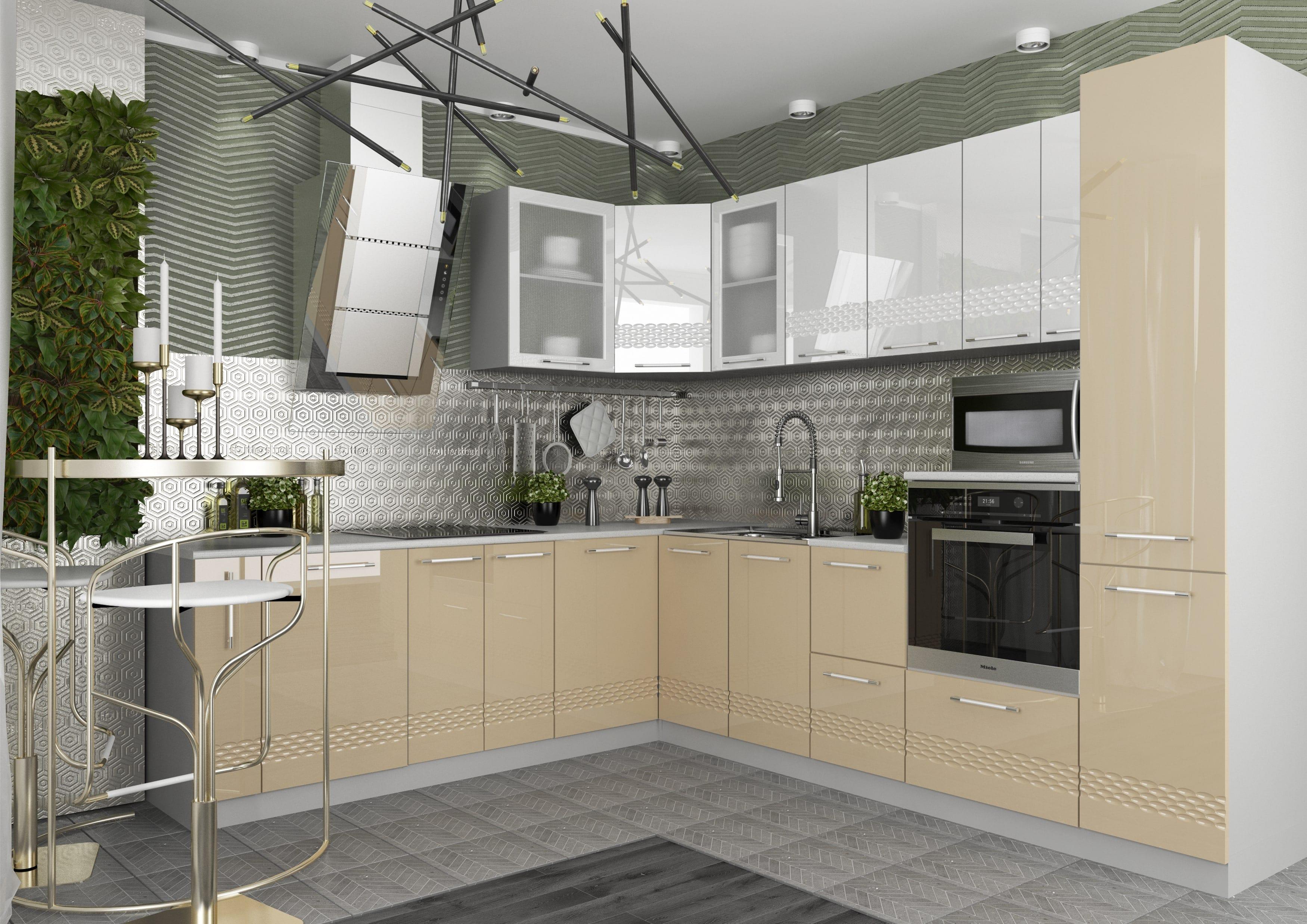 Кухня Капля 3D С 601 фасад под посудомйку
