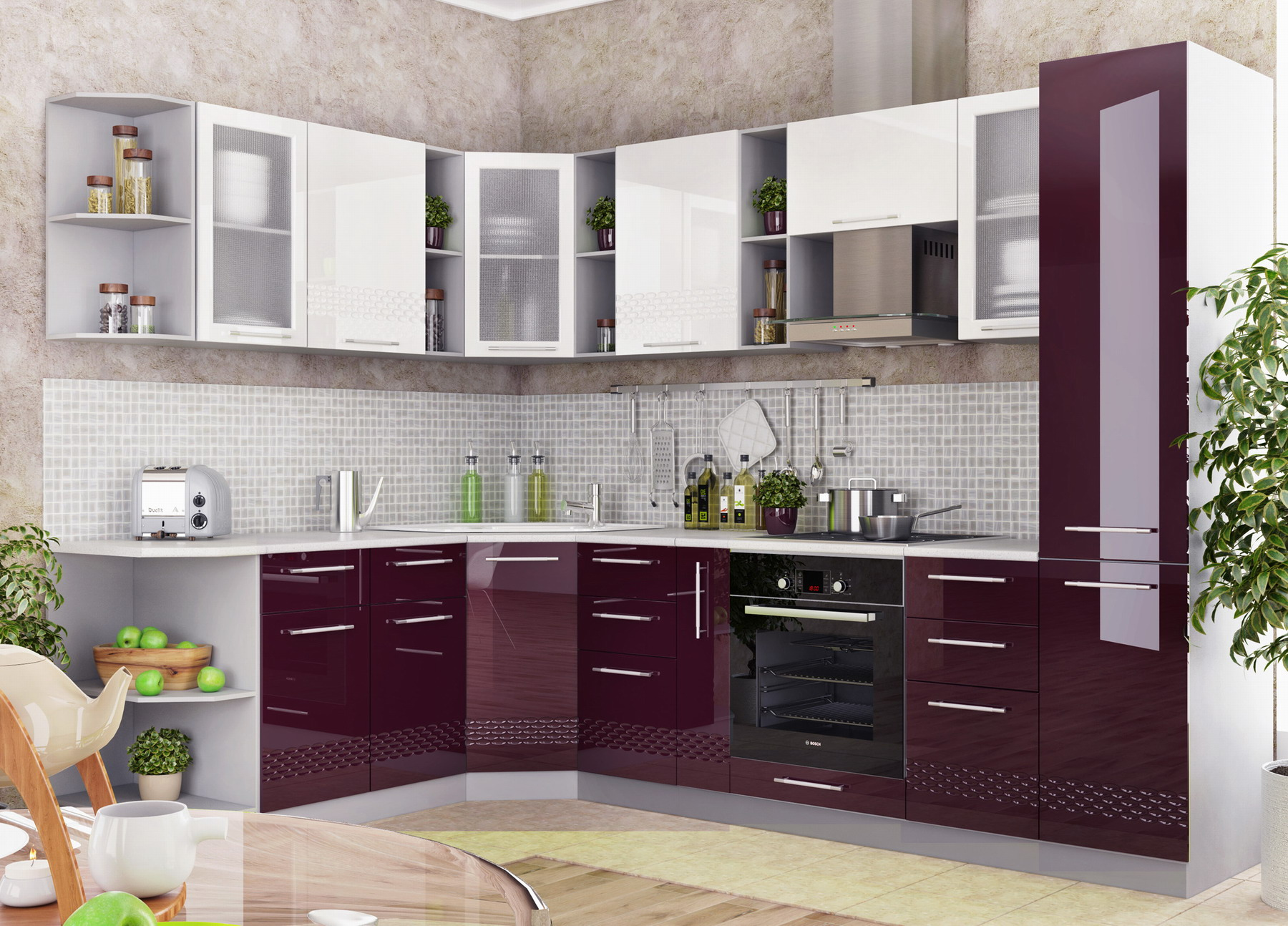 Кухня Капля 3D СМЯ 300 ящики сметабоксами