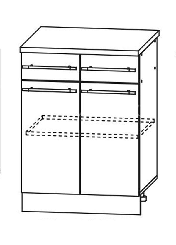 Кухня Ницца Шкаф нижний 2 ящика 600