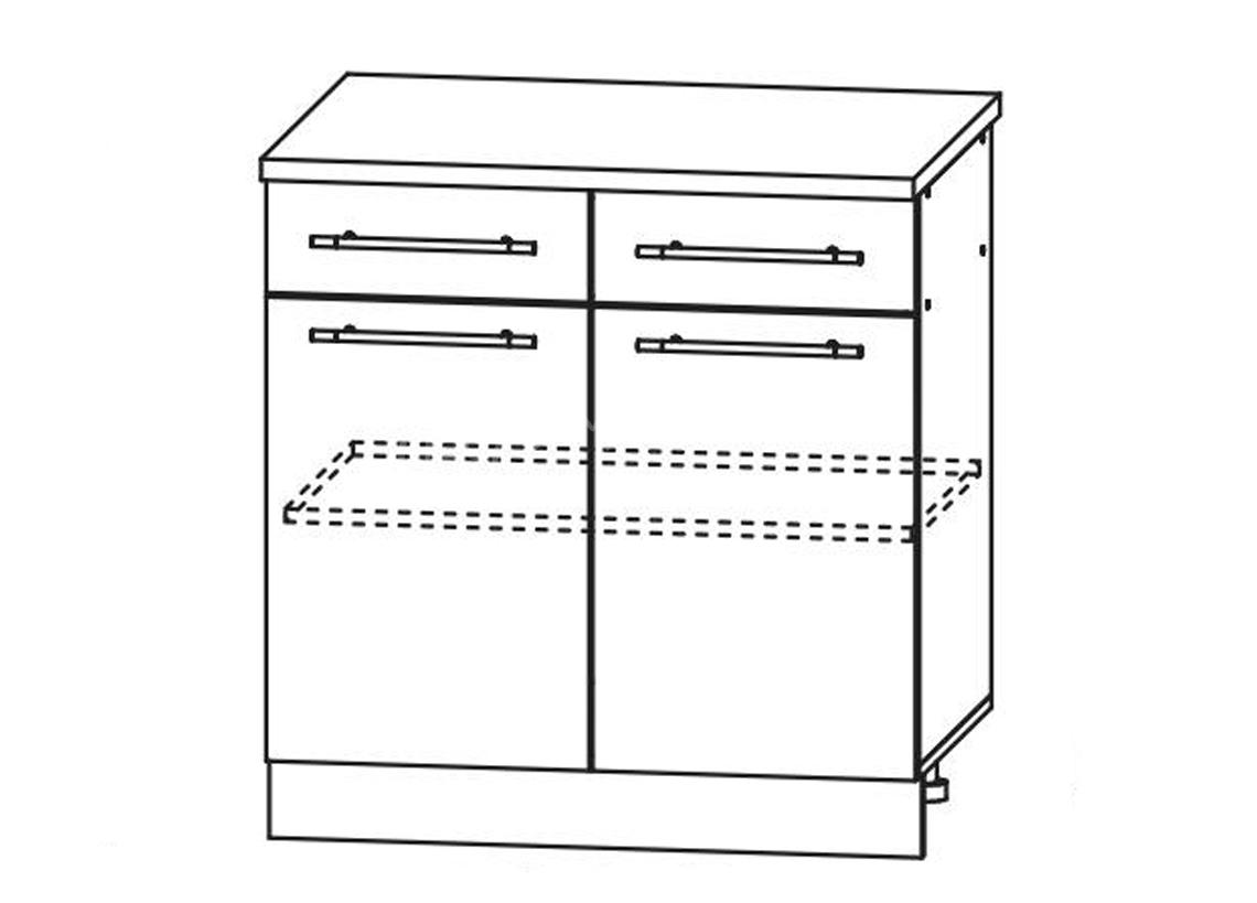 Кухня Ницца Шкаф нижний 2 ящика 800