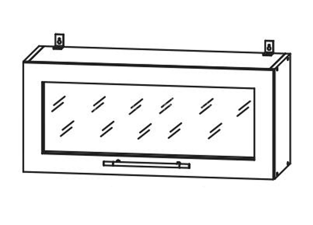 Кухня Страйп Шкаф верхний горизонт.стекло ШВГС 800