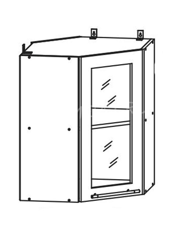 Кухня Страйп Шкаф верхний угловой стекло ШВУС 550*550