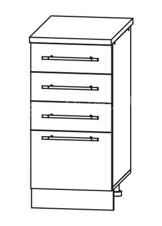 Кухня Страйп Шкаф нижний с 4 ящиками ШНЯ 400