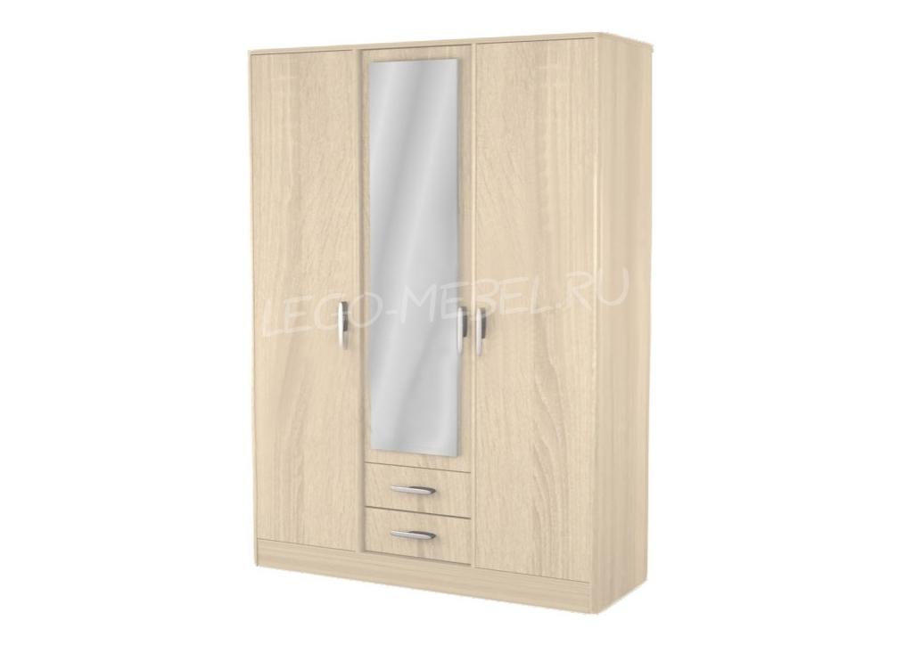 Спальня Джустин Шкаф 3-х дверный с ящиками