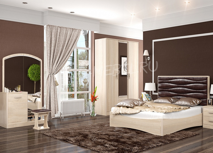 Спальня Джустин / кожа chocolate /