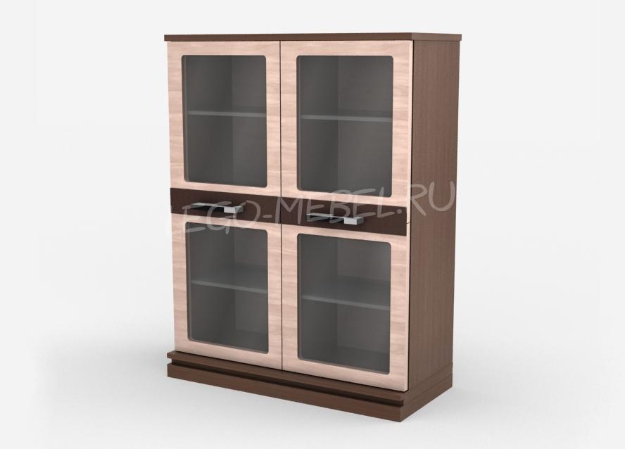 Николь Тумба две двери со стеклом / полки стекло