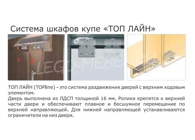 Шкаф купе Топ-Лайн 1190 / 450 / 2 секции / 1 зеркало
