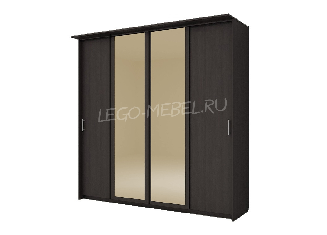 Шкаф купе Топ-Лайн 2362 / 450 / 4 секции / 2 зеркала золото