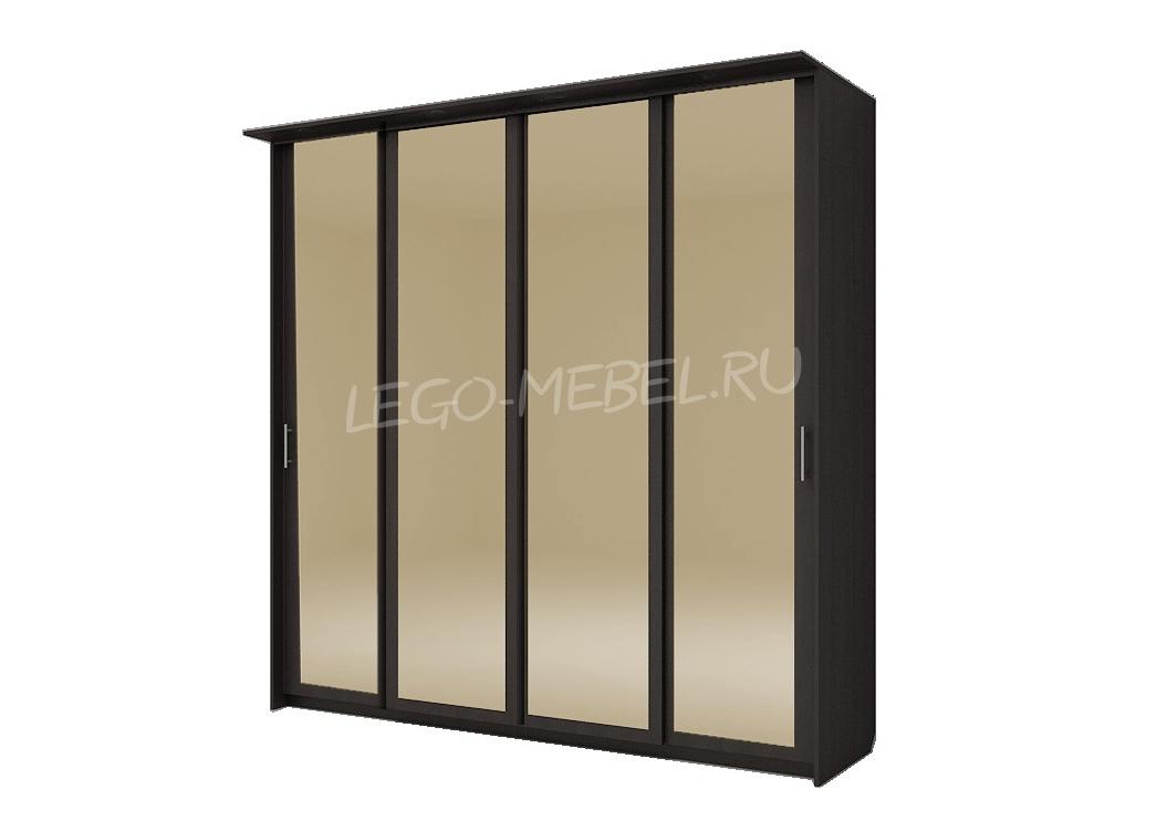 Шкаф купе Топ-Лайн 2362 / 450 / 4 секции / 4 зеркала золото