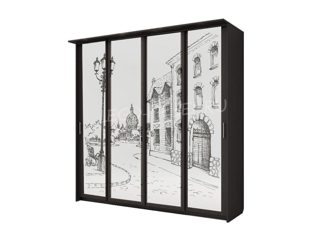 Шкаф купе Топ-Лайн 2362 / 450 / 4 секции / город серебро